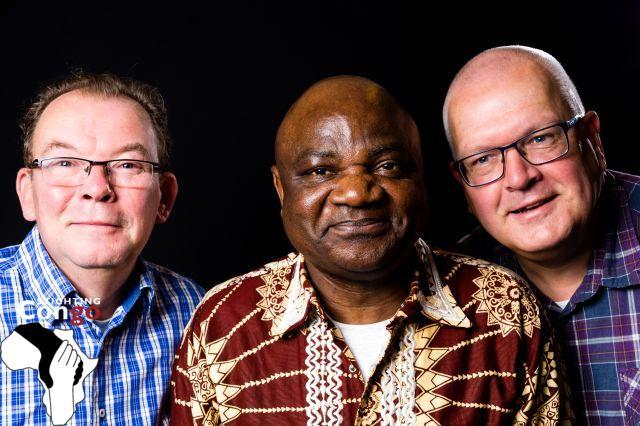 vlnr: Johan Huizer, Guy Okamba en Bert Dokter